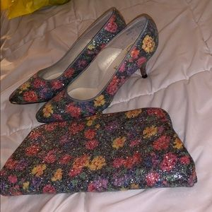 Brand new matching high heels and clutch